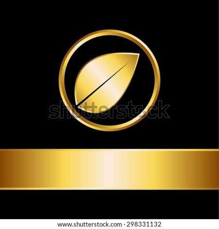 Vector illustration of Gold leaf and ribbon on a black background.