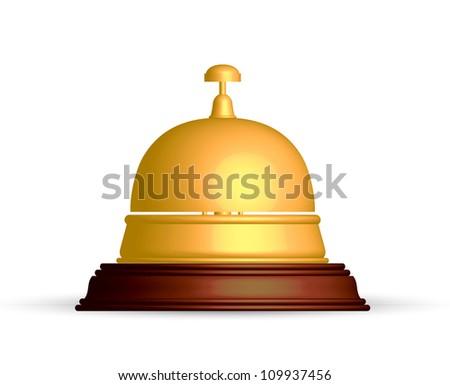Vector illustration of gold reception bell - stock vector