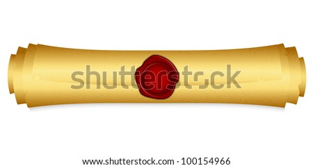 Vector illustration of gold scroll with red wax seal - stock vector
