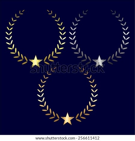 Vector illustration of Gold, silver and laurel wreaths with stars  on a blue background. - stock vector