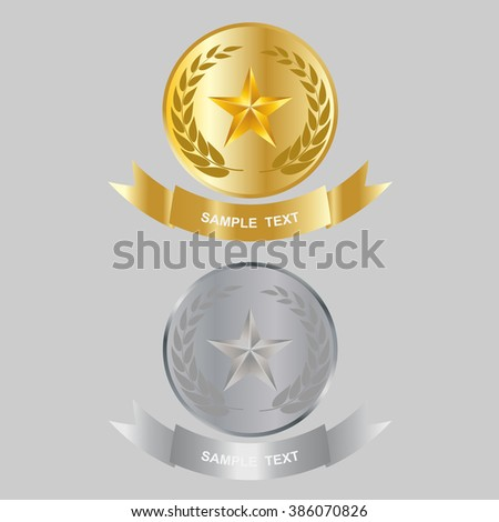 Vector illustration of gold star and silver star award with shiny ribbon with space for your text. - stock vector