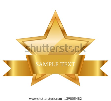 Vector illustration of gold star award with shiny ribbon with space for your text - stock vector