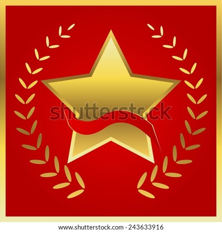 Vector illustration of Gold star with ribbon on a red background. - stock vector