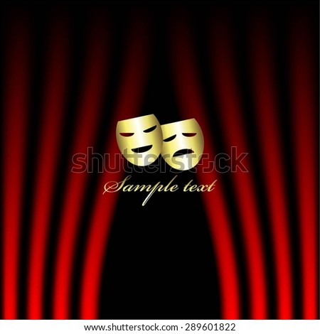 Vector illustration of Gold theatrical masks, red curtain. Theatrical scene.