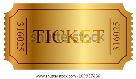 Vector illustration of gold ticket - stock vector