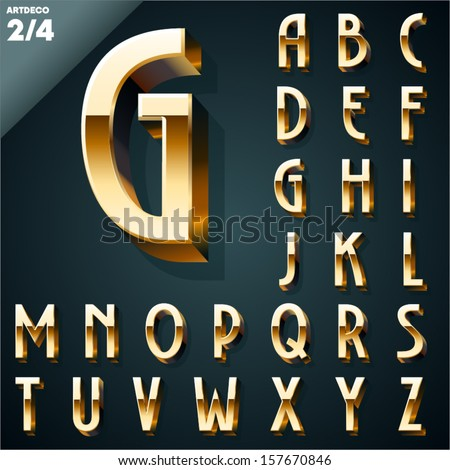 Vector illustration of golden 3D alphabet. Art Deco style. Set 2 - stock vector