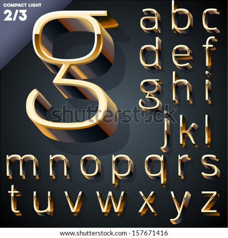 Vector illustration of golden 3D alphabet. Compact Light style. Set 2 - stock vector