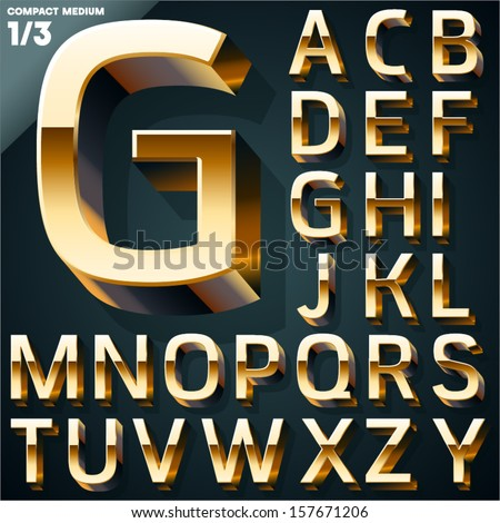 Vector illustration of golden 3D alphabet. Compact Medium style. Set 1 - stock vector