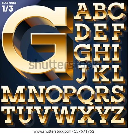 Vector illustration of golden 3D alphabet. Slab style. Set 1 - stock vector