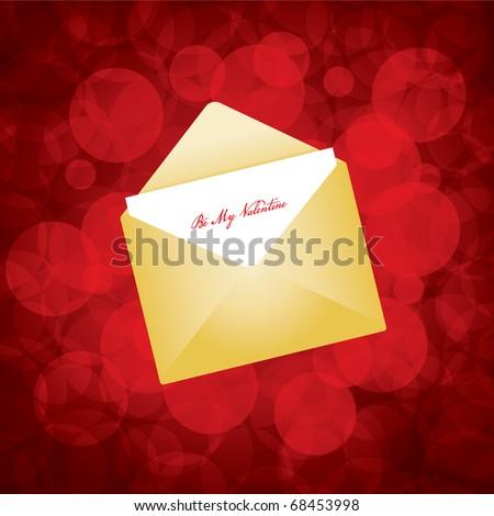 Vector illustration of golden envelope with love letter - stock vector