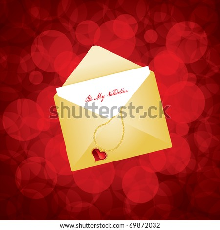 Vector illustration of golden envelope with love letter - stock vector