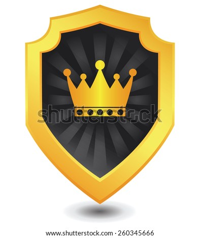 Vector illustration of Golden luxury crown shield : Crown concept. - stock vector