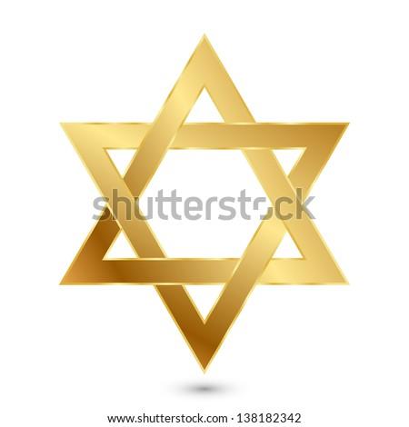 Vector illustration of golden Magen David (star of David) - stock vector