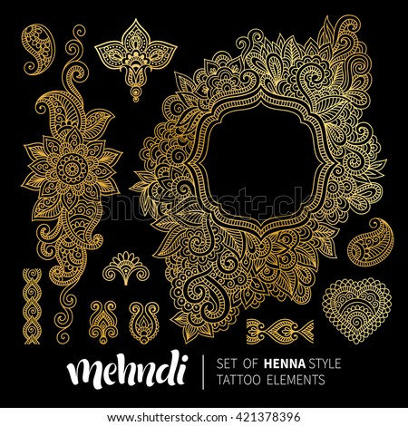 Vector illustration of golden mehndi pattern frame. Traditional indian style, ornamental floral elements for henna tattoo, gold stickers, flash temporary tattoo, mehndi, yoga design, cards and prints