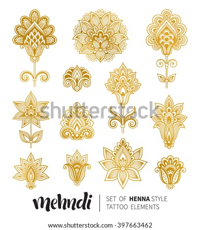 Vector illustration of golden mehndi pattern. Traditional indian style, ornamental floral elements with henna tattoo, golden stickers, flash temporary tattoo, mehndi and yoga design, cards and prints - stock vector
