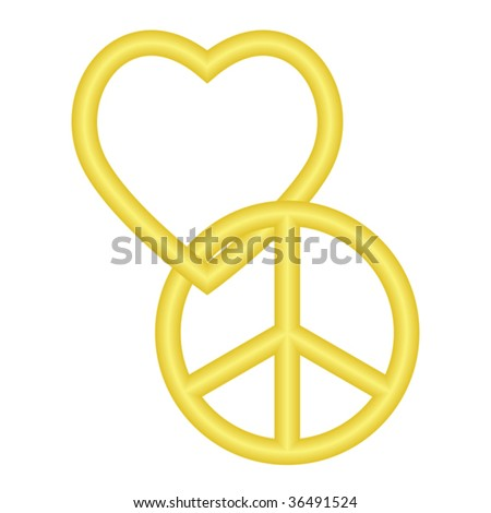Vector illustration of golden peace and love symbols entwined