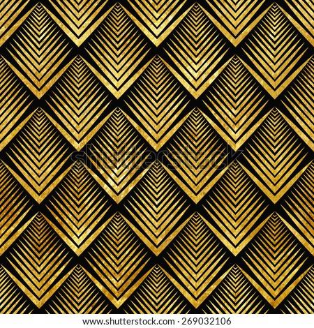 Vector illustration of golden seamless pattern in art deco style - stock vector