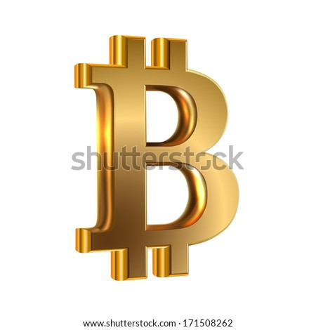 Vector illustration of golden sign virtual currency bit coin on white