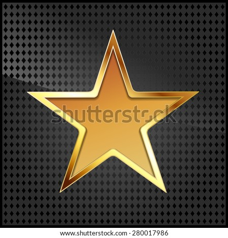 vector illustration of golden star on black metallic grid - stock vector