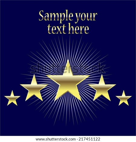 Vector illustration of 5 golden stars on a blue background - stock vector