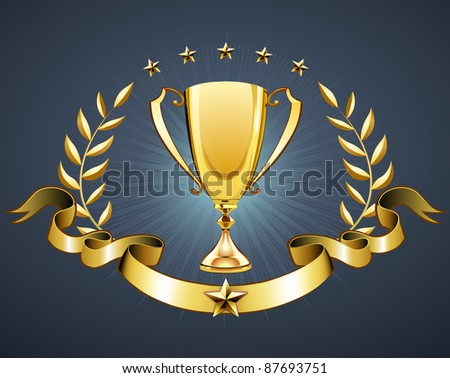 Vector illustration of golden trophy with laurel wreath and ribbon badge to put a text
