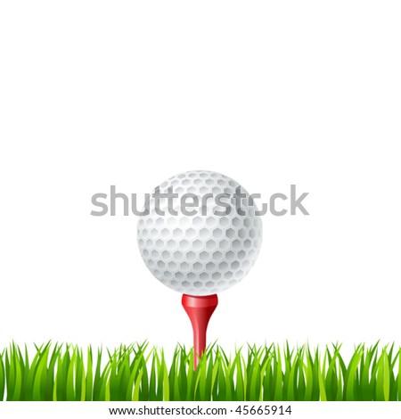 vector illustration of Golf ball on a tee - stock vector