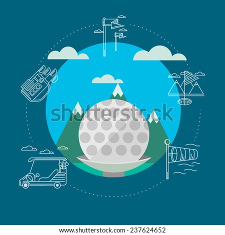 Vector illustration of golf. Golf ball on a background of green mountains and blue sky. Circle flat vector illustration with white contour sign of golf elements and clouds around on blue background. - stock vector