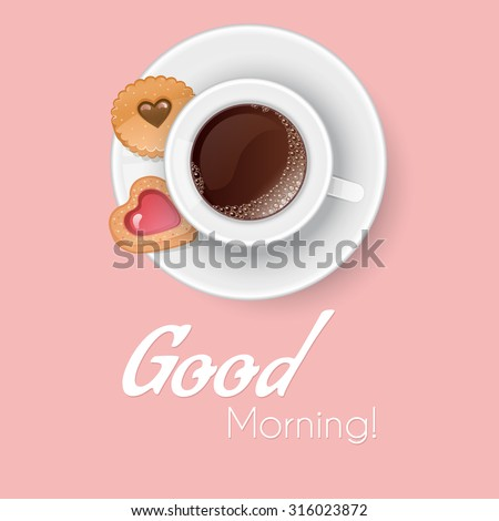 Vector illustration of Good morning with coffee - stock vector