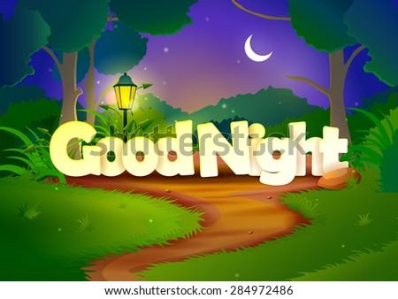 vector illustration of Good Night wallpaper background - stock vector