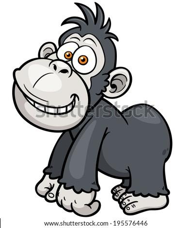 Vector illustration of Gorilla Cartoon - stock vector