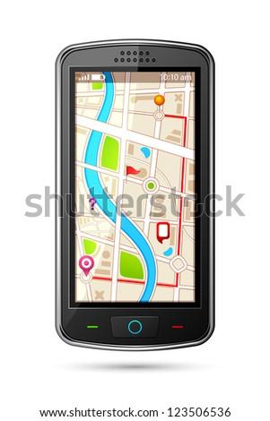 vector illustration of GPS navigation device - stock vector