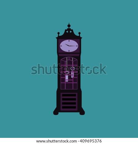Vector illustration of grandfather clock. Grandfather Pendulum Clock Vector Illustration. Old clock vector illustration. Old clock picture. Old cuckoo clock. Rare things. Balance wheel. - stock vector