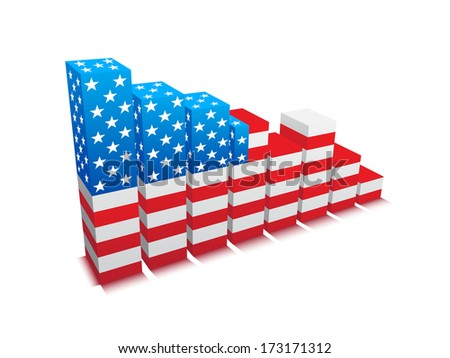 Vector illustration of graph with USA flag.  - stock vector