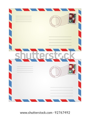 vector illustration of gray and yellow envelopes - stock vector