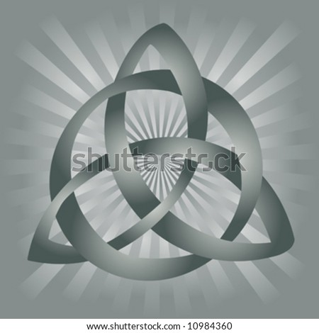 ... of gray celtic knot on silvery gray background. - stock vector