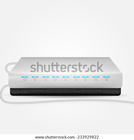 Vector illustration of gray router. Gray Wi-Fi modem with blue indicators and two connection wire. Isolated vector illustration on white background. - stock vector