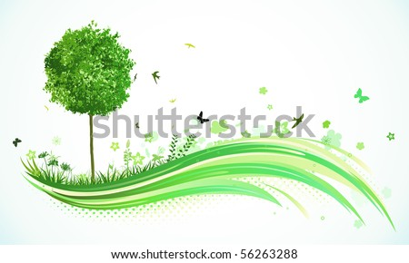 Vector illustration of green abstract lines background - composition of curved lines, floral elements and funky tree. - stock vector