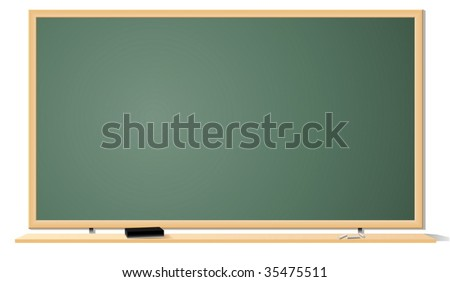Vector illustration of green clean classroom blackboard isolated on white background. - stock vector