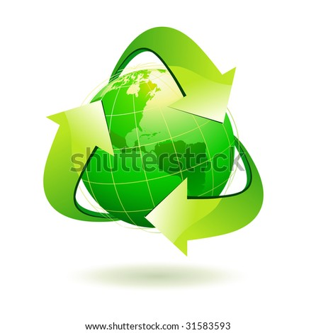 Vector illustration of green Earth with recycle symbol.