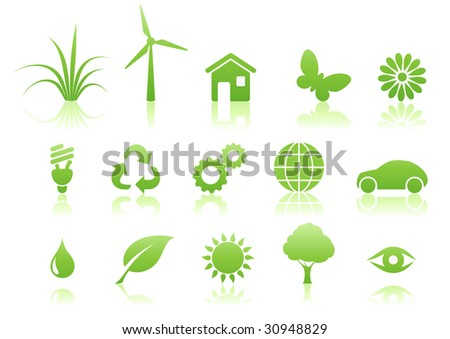 Vector illustration of green ecology icon set - stock vector