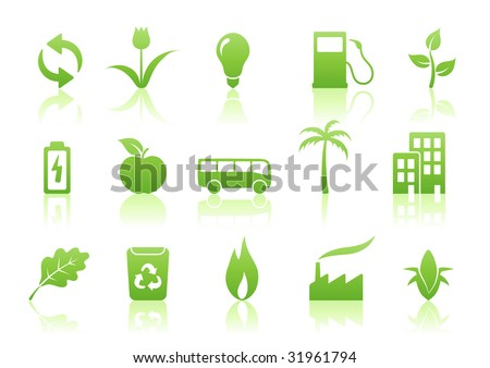 Vector illustration of green ecology icon set
