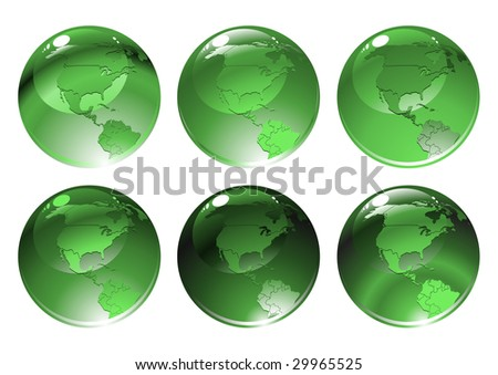 Vector Illustration of green globe icons with different countries.