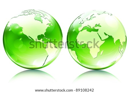 Vector illustration of green glossy earth map globes in different angles