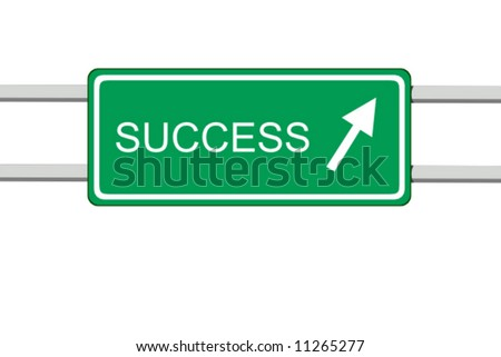 vector illustration of green informative road sign with the word success - stock vector