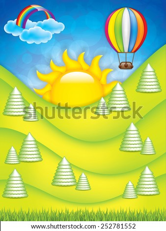 Vector illustration of green landscape with hot air balloon and rainbow - stock vector