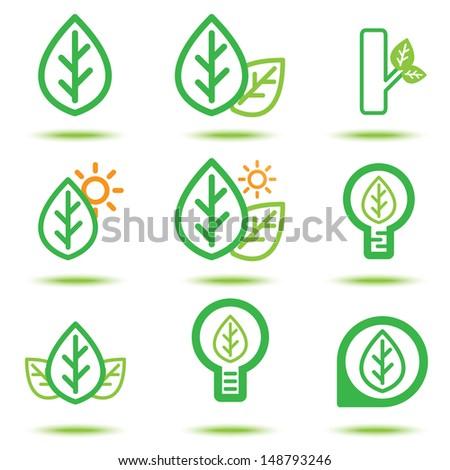 Vector illustration of green leaf icon, Logo template design - stock vector