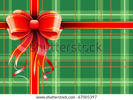 Vector illustration of green Scottish plaid gift wrapping with red ribbon and bow - stock vector