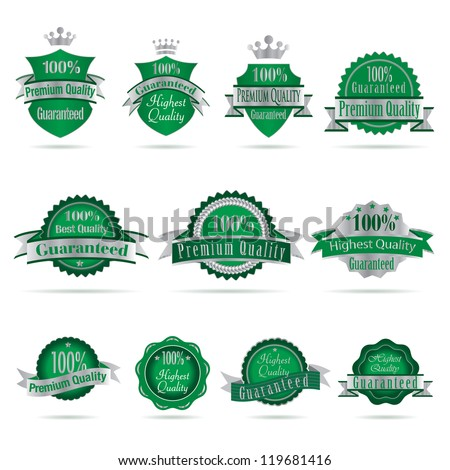 Vector illustration of green silver labels. - stock vector