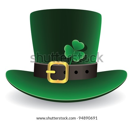 vector illustration of green St. Patrick's Day hat with clover - stock vector