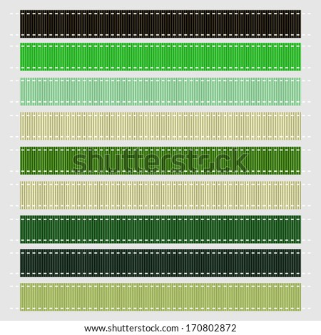 Vector illustration of green stitched grosgrain ribbon textures. Also see other color sets. - stock vector